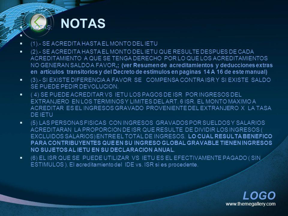 NOTAS NOTAS: (1).- SE ACREDITA HASTA EL MONTO DEL IETU