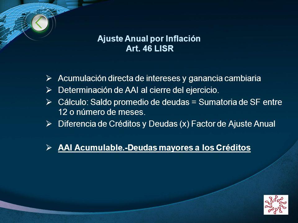Ajuste Anual por Inflación Art. 46 LISR