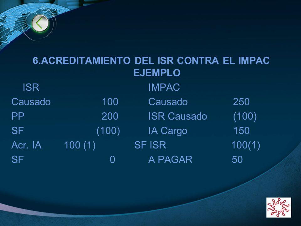 6.ACREDITAMIENTO DEL ISR CONTRA EL IMPAC EJEMPLO