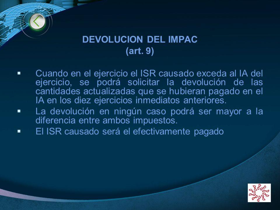 DEVOLUCION DEL IMPAC(art. 9)