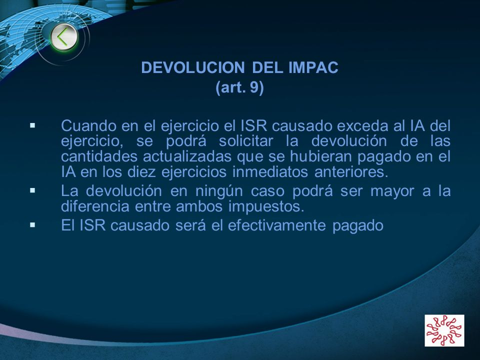 DEVOLUCION DEL IMPAC (art. 9)