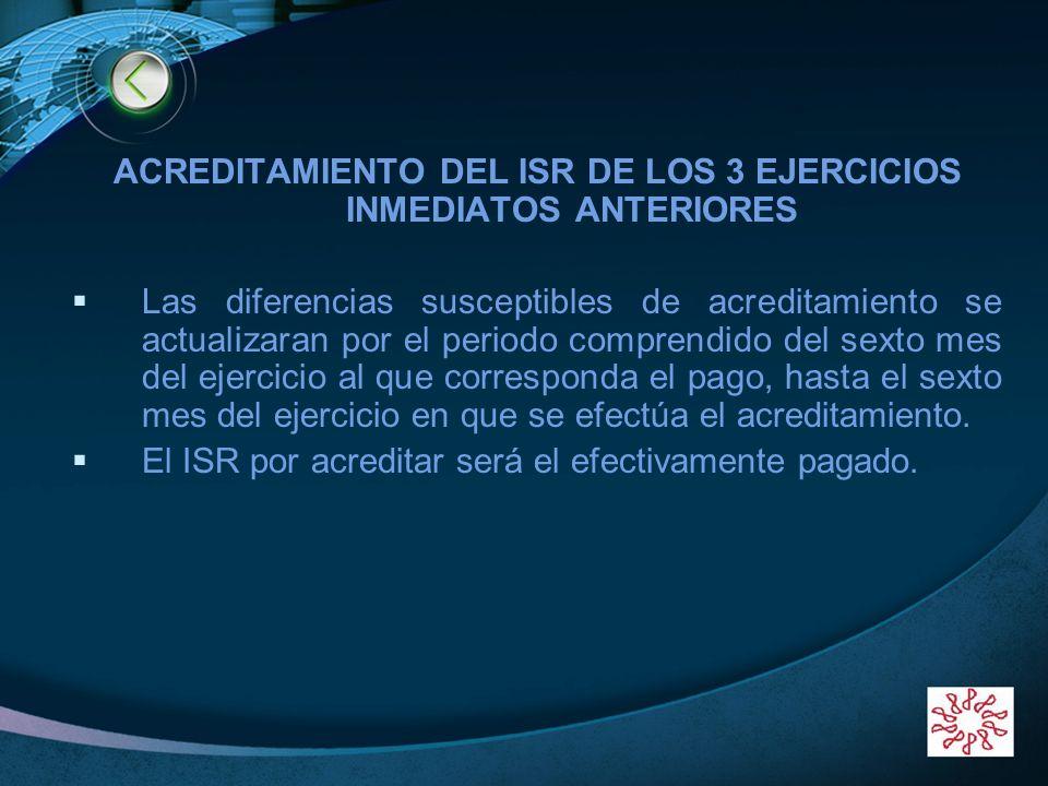 ACREDITAMIENTO DEL ISR DE LOS 3 EJERCICIOS INMEDIATOS ANTERIORES