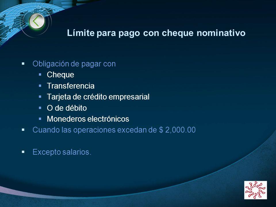 Límite para pago con cheque nominativo