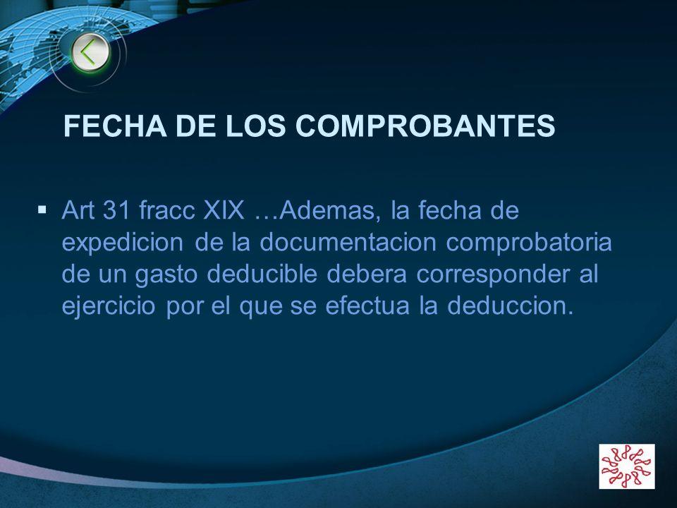 FECHA DE LOS COMPROBANTES