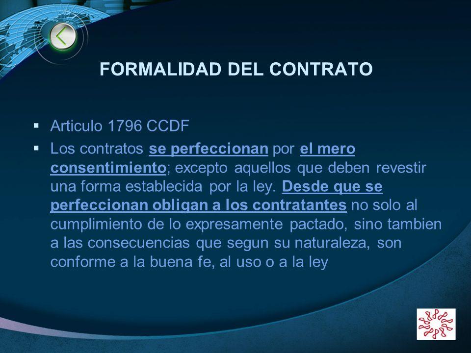 FORMALIDAD DEL CONTRATO