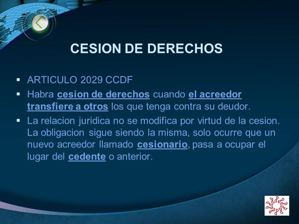 CESION DE DERECHOS ARTICULO 2029 CCDF