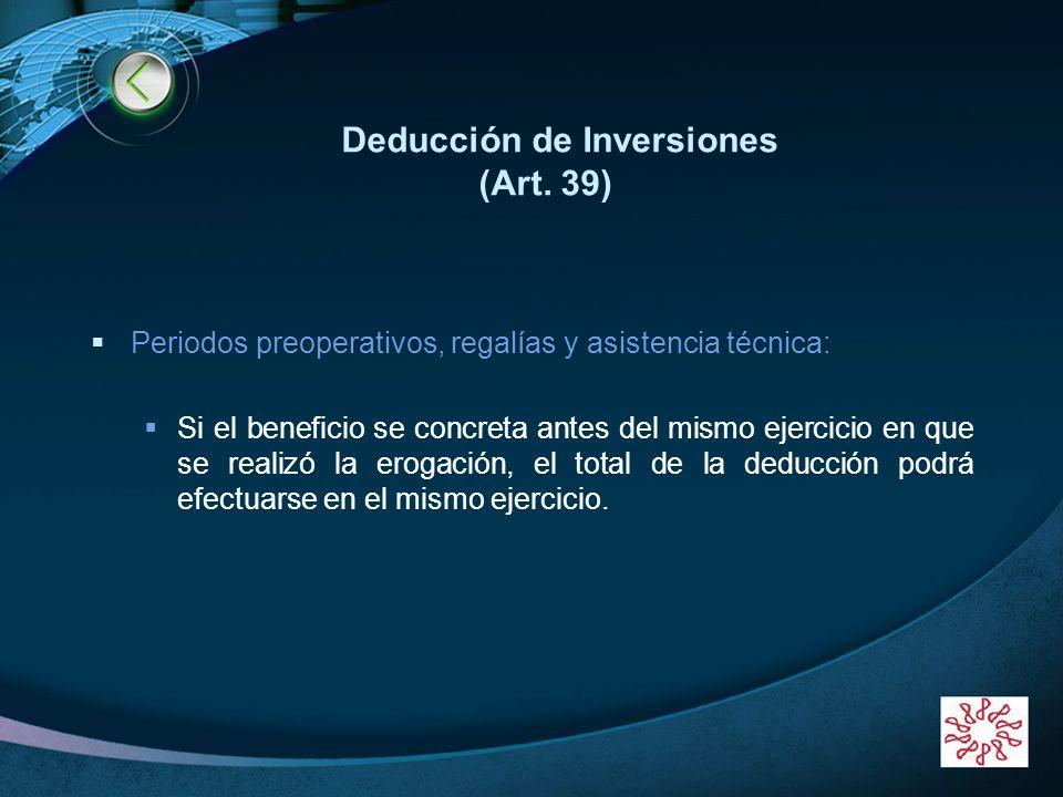 Deducción de Inversiones (Art. 39)