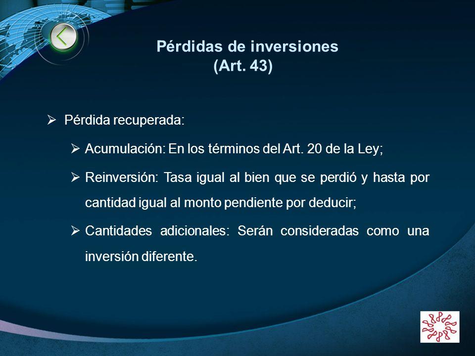 Pérdidas de inversiones (Art. 43)
