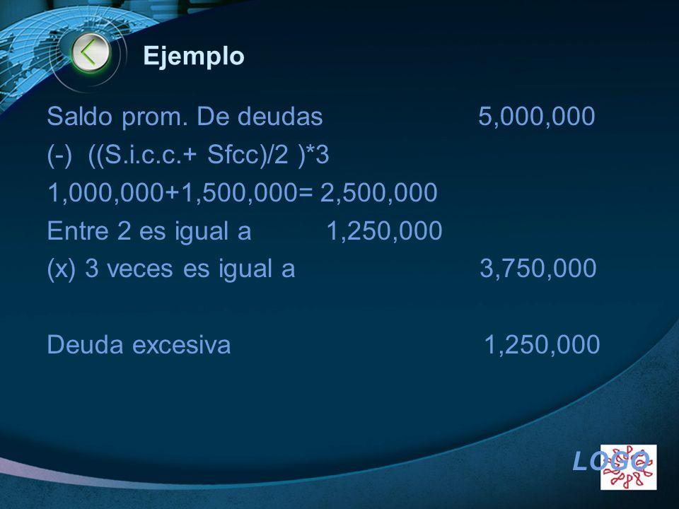 Ejemplo Saldo prom. De deudas 5,000,000. (-) ((S.i.c.c.+ Sfcc)/2 )*3. 1,000,000+1,500,000= 2,500,000.
