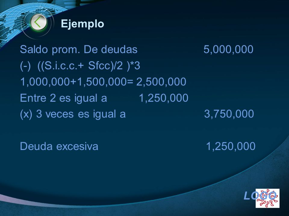 EjemploSaldo prom. De deudas 5,000,000. (-) ((S.i.c.c.+ Sfcc)/2 )*3. 1,000,000+1,500,000= 2,500,000.