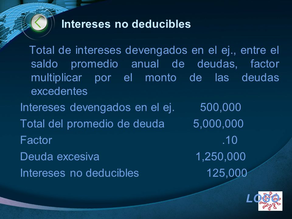Intereses no deducibles