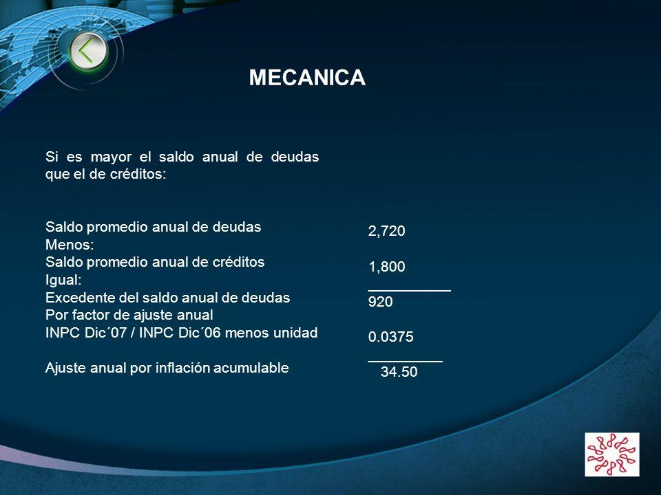 MECANICA Si es mayor el saldo anual de deudas que el de créditos: