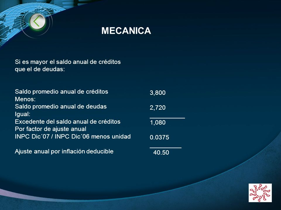 MECANICA Si es mayor el saldo anual de créditos que el de deudas: