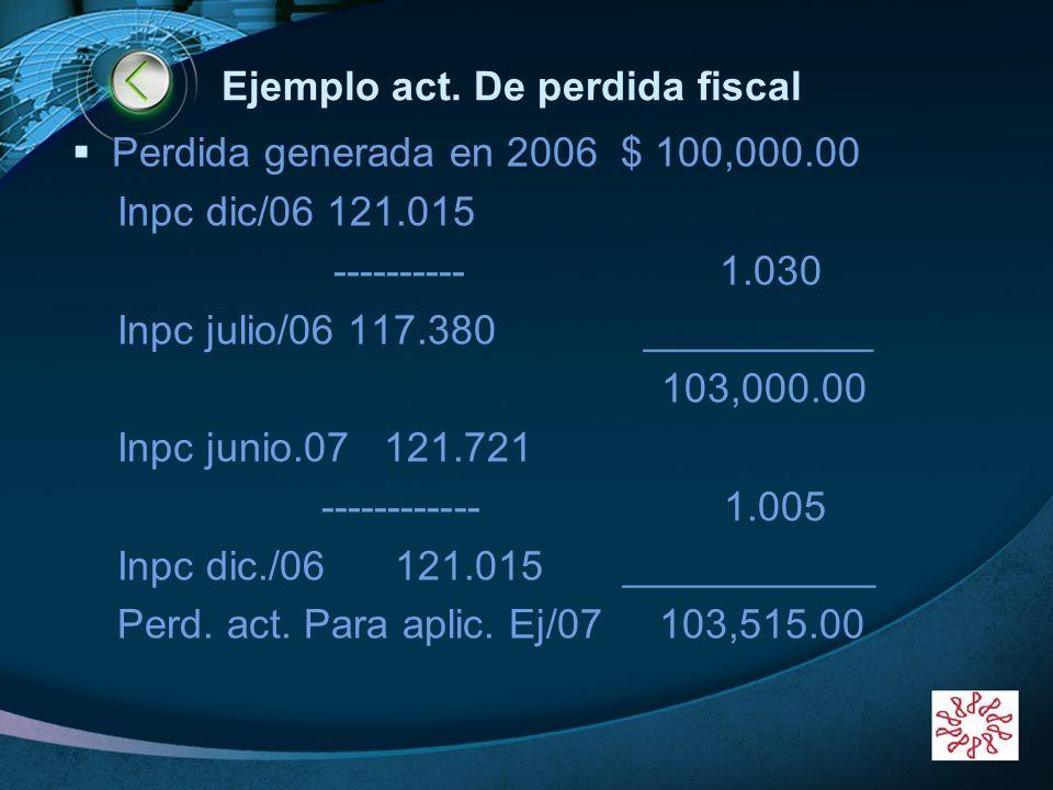 Ejemplo act. De perdida fiscal