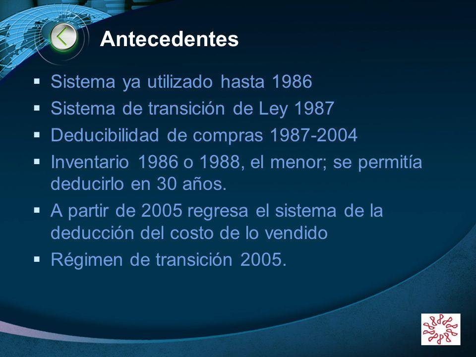 Antecedentes Sistema ya utilizado hasta 1986