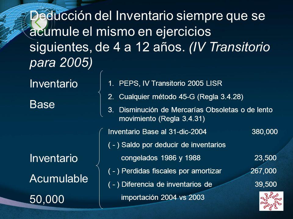 Deducción del Inventario siempre que se acumule el mismo en ejercicios siguientes, de 4 a 12 años. (IV Transitorio para 2005)