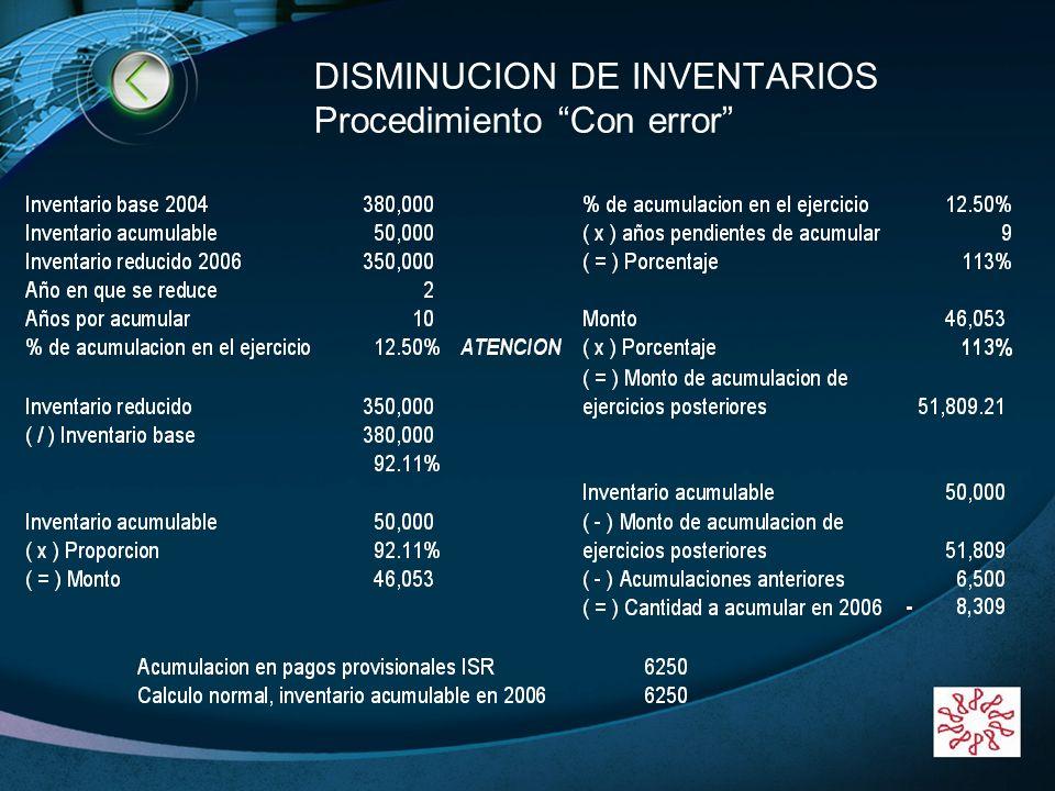 DISMINUCION DE INVENTARIOS Procedimiento Con error