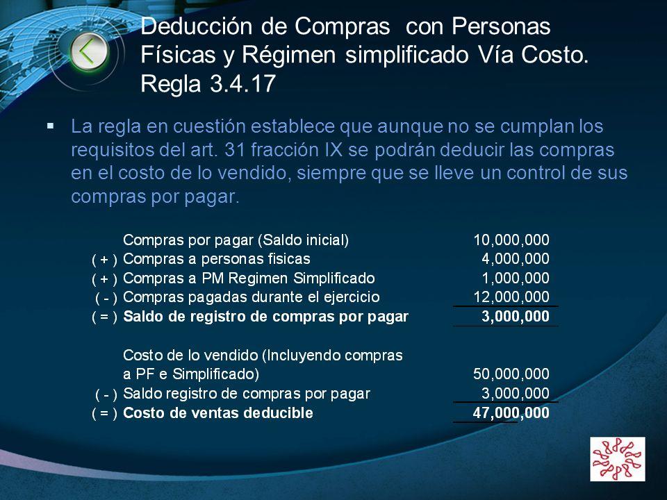 Deducción de Compras con Personas Físicas y Régimen simplificado Vía Costo. Regla 3.4.17