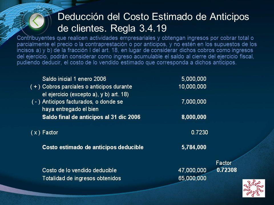 Deducción del Costo Estimado de Anticipos de clientes. Regla 3.4.19