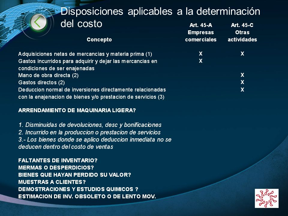 Disposiciones aplicables a la determinación del costo