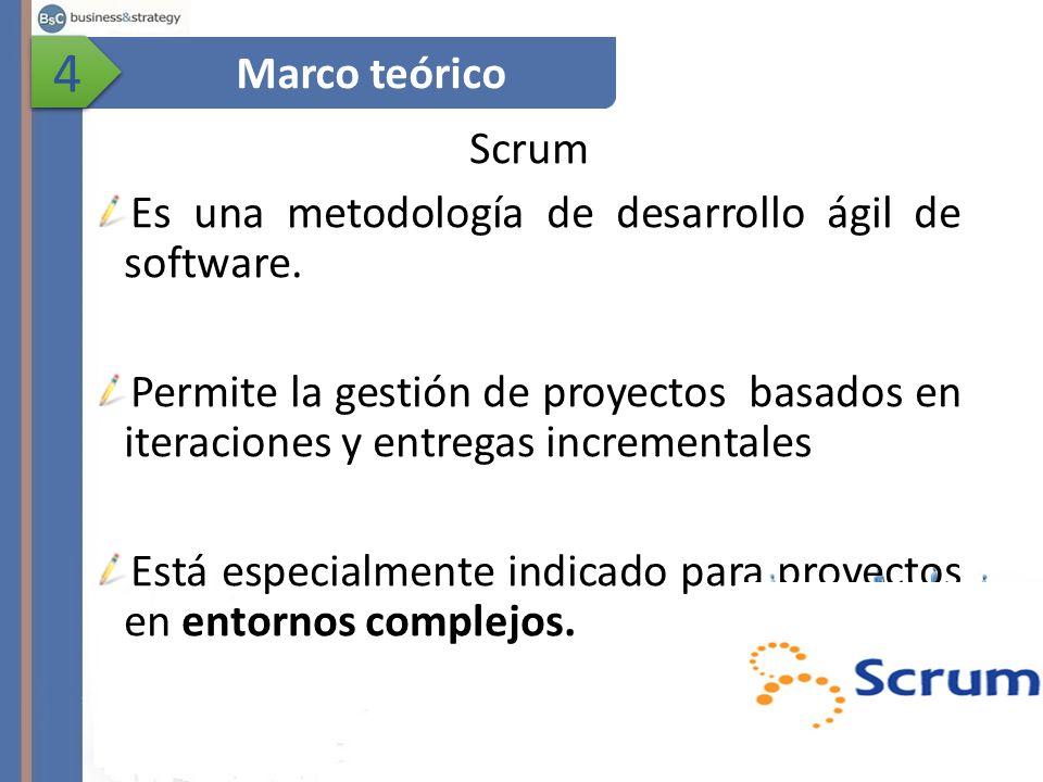 4 Marco teórico. Scrum. Es una metodología de desarrollo ágil de software.