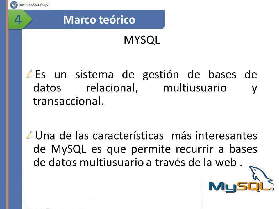 4 Marco teórico. MYSQL. Es un sistema de gestión de bases de datos relacional, multiusuario y transaccional.