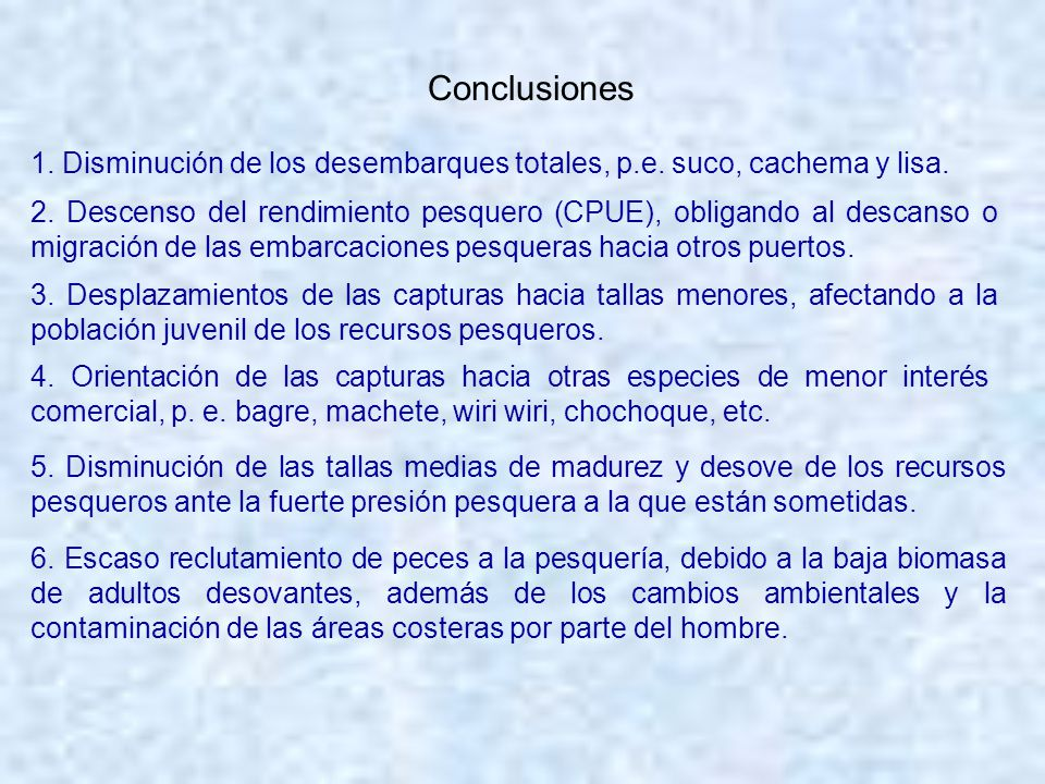 Conclusiones 1. Disminución de los desembarques totales, p.e. suco, cachema y lisa.