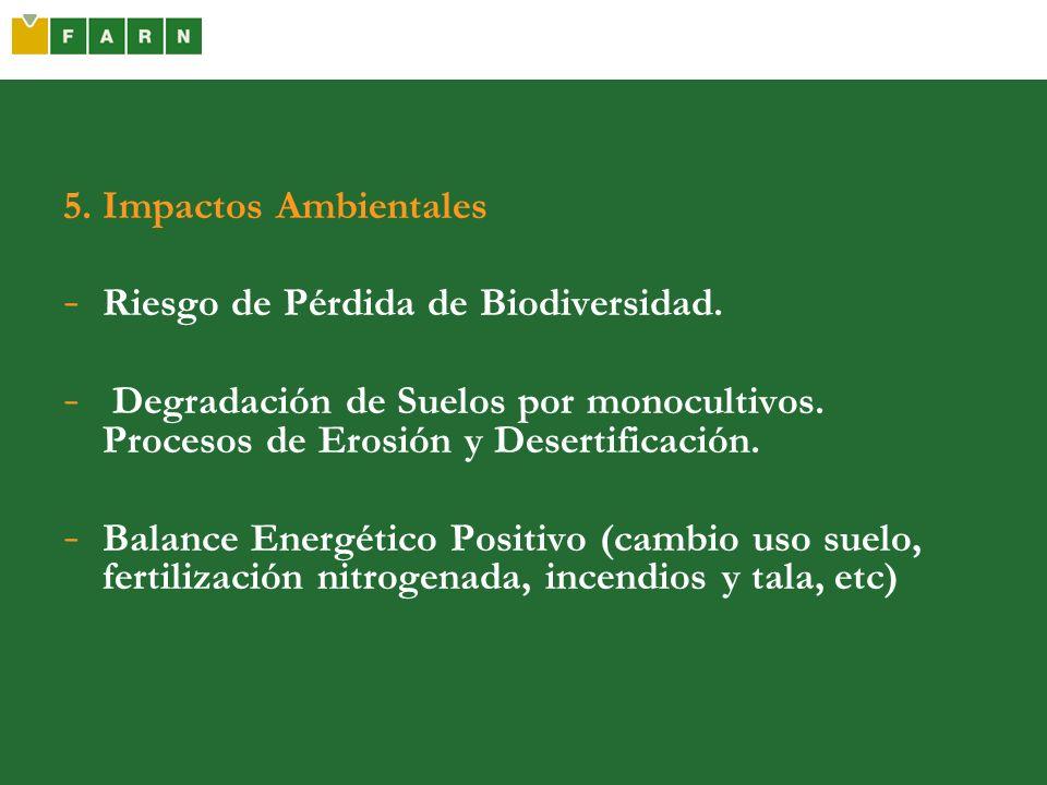 5. Impactos AmbientalesRiesgo de Pérdida de Biodiversidad. Degradación de Suelos por monocultivos. Procesos de Erosión y Desertificación.