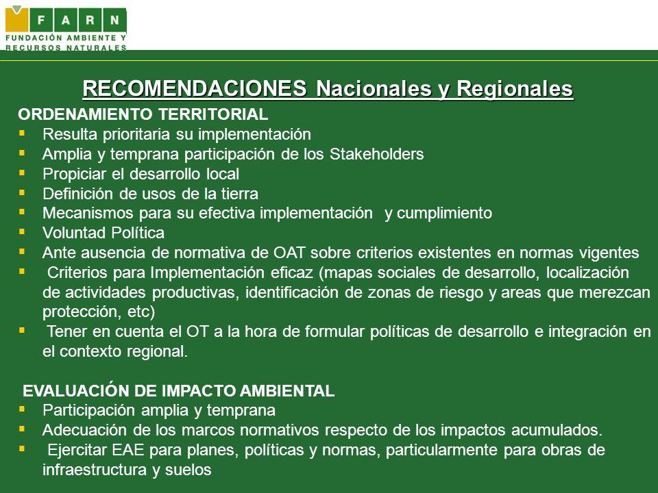 RECOMENDACIONES Nacionales y Regionales