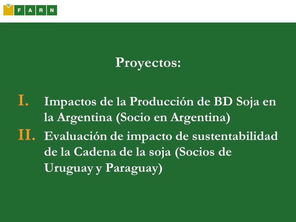 Proyectos: Impactos de la Producción de BD Soja en la Argentina (Socio en Argentina)