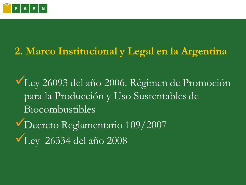 2. Marco Institucional y Legal en la Argentina