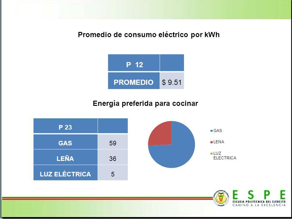 Promedio de consumo eléctrico por kWh