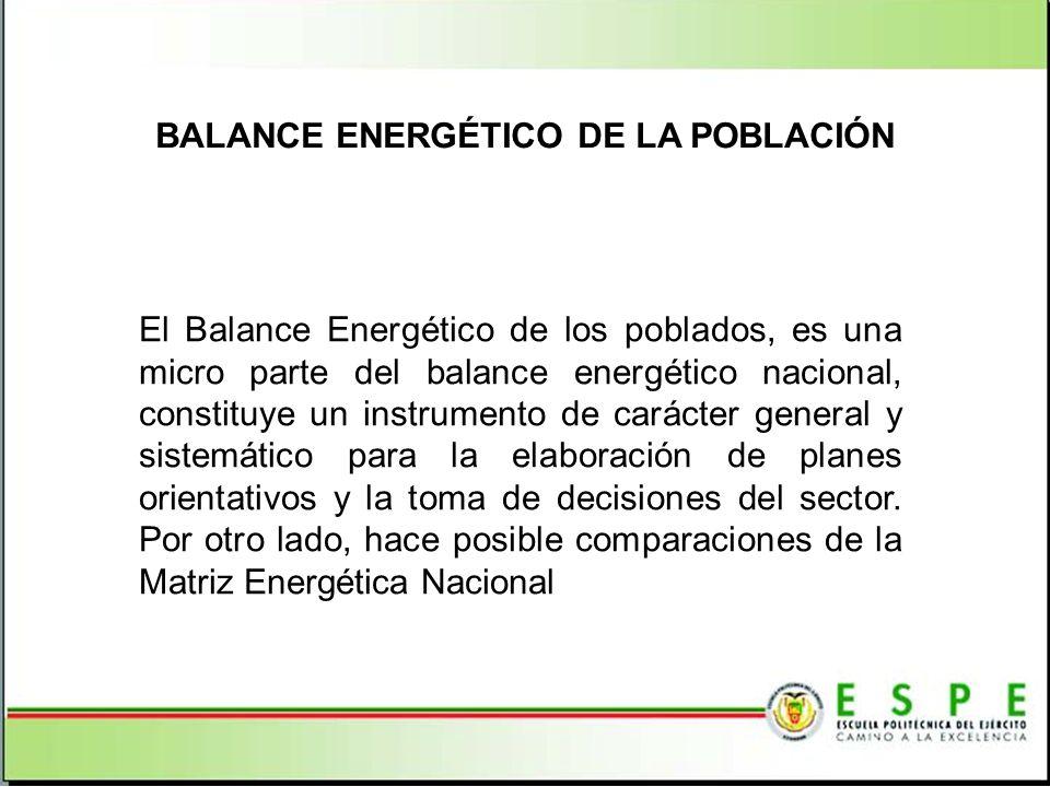 BALANCE ENERGÉTICO DE LA POBLACIÓN