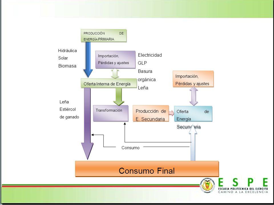 Consumo Final Electricidad Biomasa GLP Basura orgánica