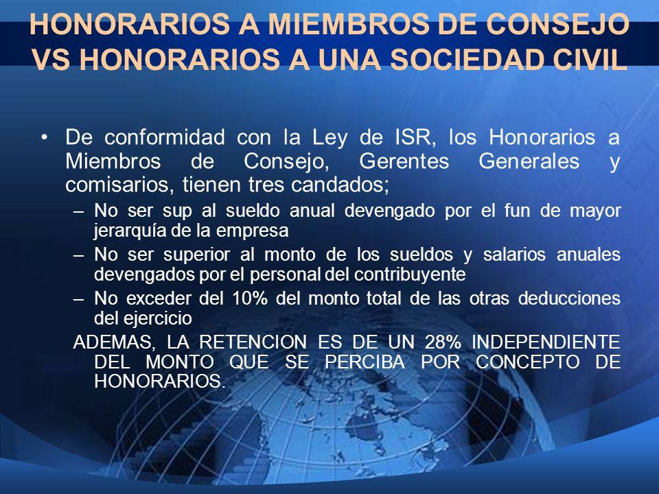HONORARIOS A MIEMBROS DE CONSEJO VS HONORARIOS A UNA SOCIEDAD CIVIL