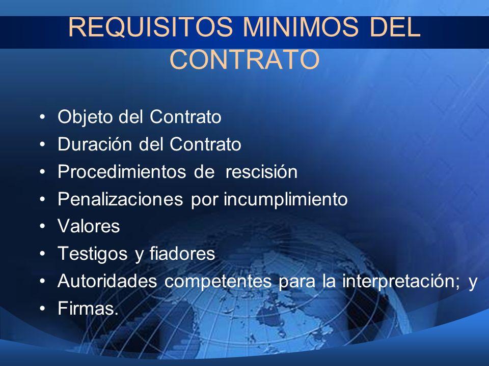 REQUISITOS MINIMOS DEL CONTRATO