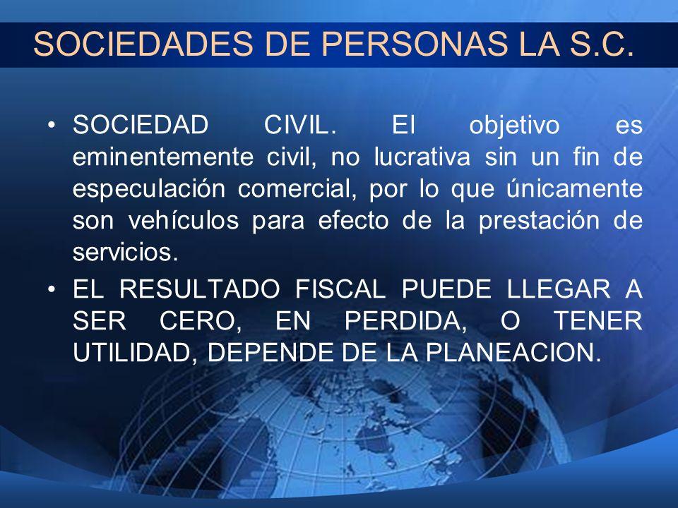 SOCIEDADES DE PERSONAS LA S.C.