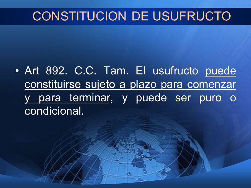 CONSTITUCION DE USUFRUCTO