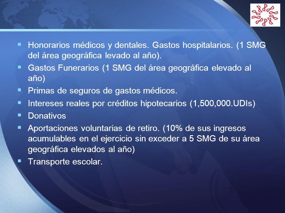 Honorarios médicos y dentales. Gastos hospitalarios