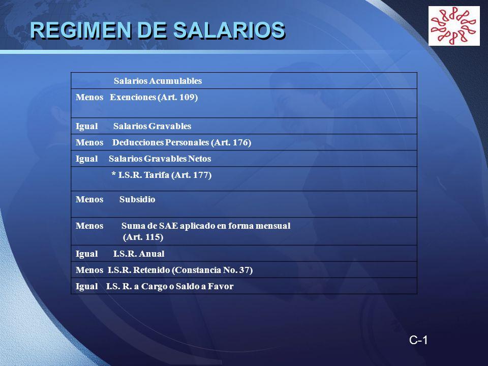 REGIMEN DE SALARIOS C-1 Salarios Acumulables