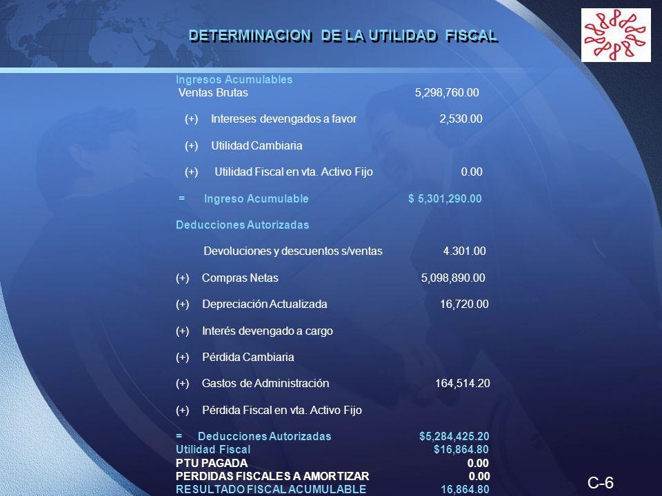 C-6 DETERMINACION DE LA UTILIDAD FISCAL Ingresos Acumulables