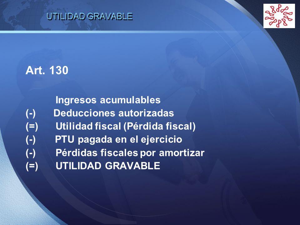 Art. 130 Ingresos acumulables (-) Deducciones autorizadas