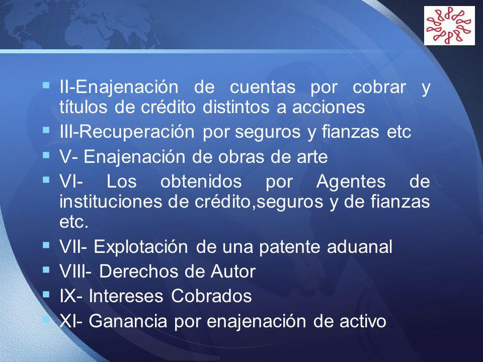 II-Enajenación de cuentas por cobrar y títulos de crédito distintos a acciones