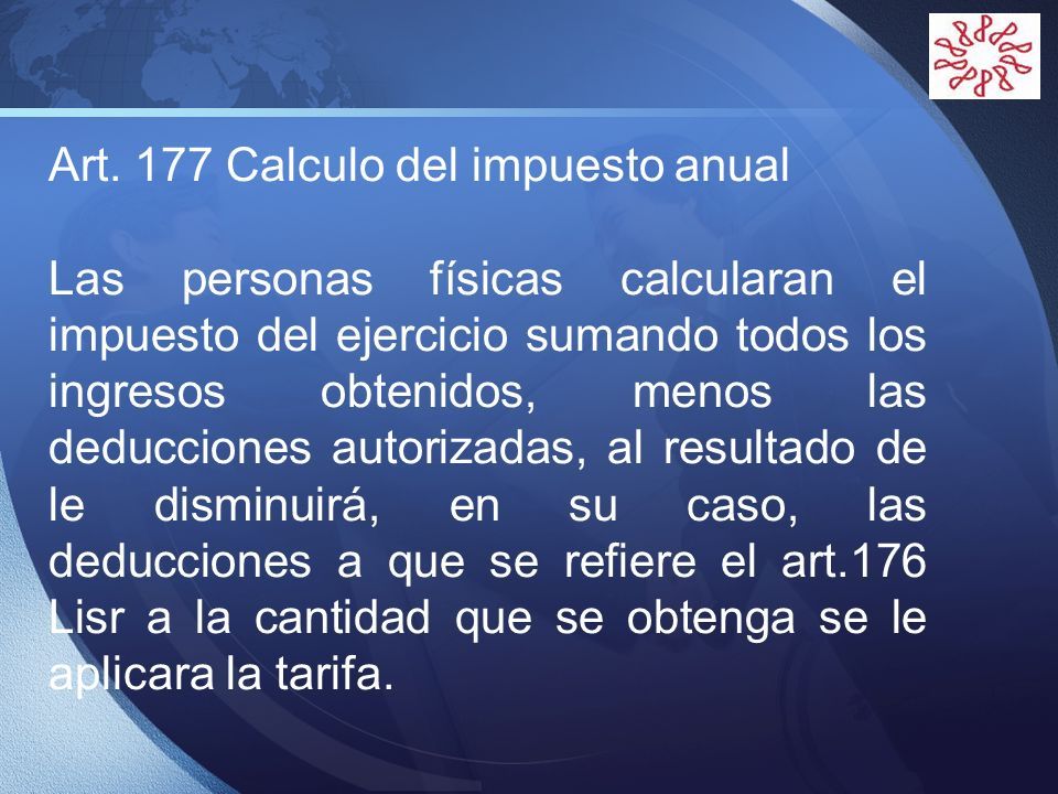 Art. 177 Calculo del impuesto anual