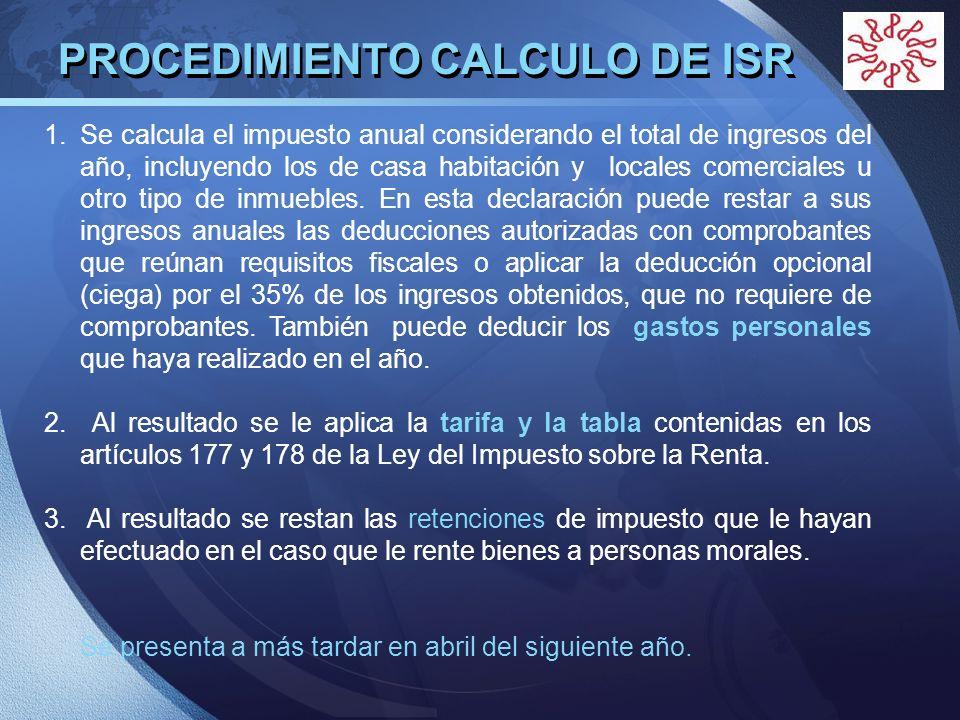 PROCEDIMIENTO CALCULO DE ISR