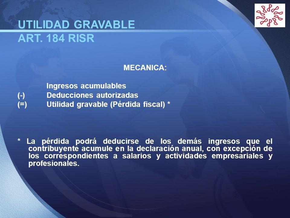 UTILIDAD GRAVABLE ART. 184 RISR