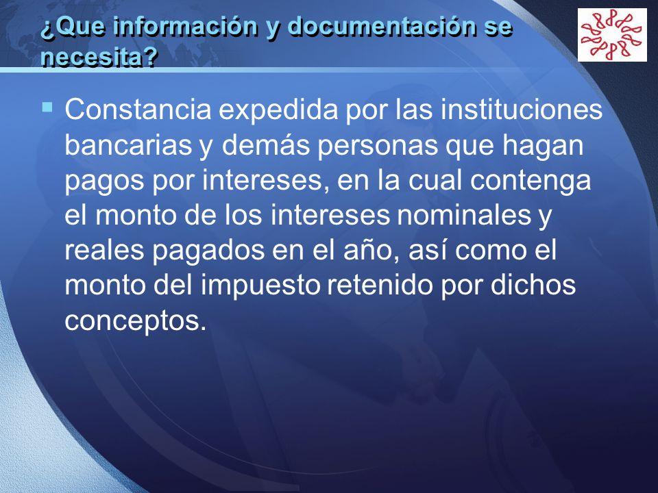 ¿Que información y documentación se necesita