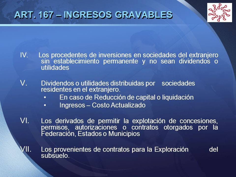 ART. 167 – INGRESOS GRAVABLES