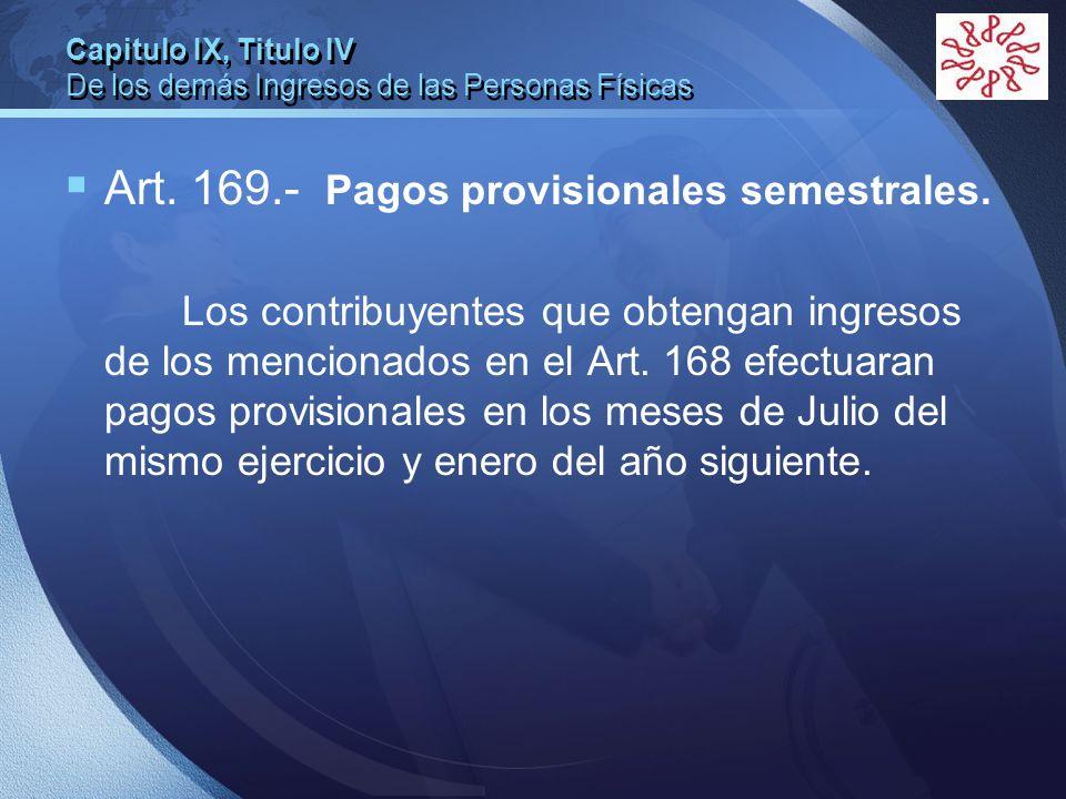 Capitulo IX, Titulo IV De los demás Ingresos de las Personas Físicas