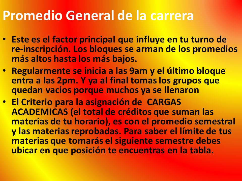 Promedio General de la carrera